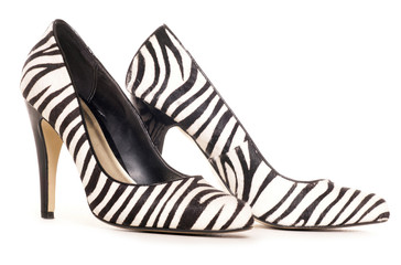 zebra pattern high heel shoes cut out