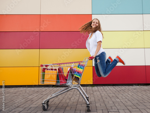 girl  with shopping trolley