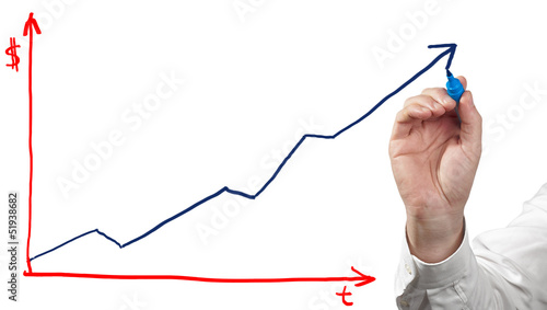 Businessman drawing chart on white background.