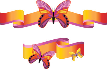 Bright butterflies on the shining ribbons