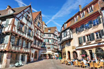 Marchands square with alsatian style houses in Colmar