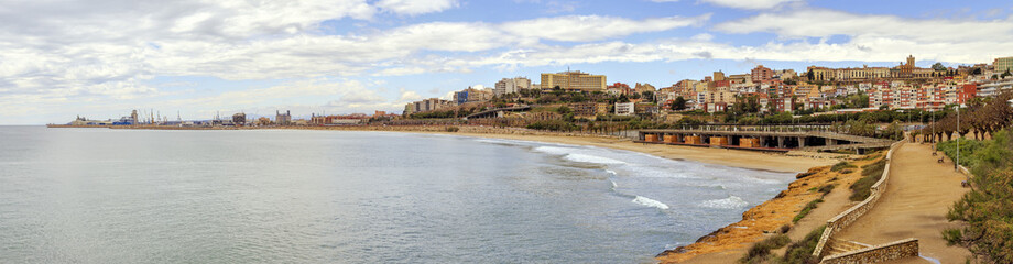 a panoramic view Beach and the city of Tarragona, Spain