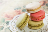 Delicious macaroons on vintage background