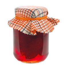 Jar of strawberry jam isolated on white