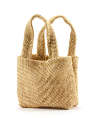Brown sackcloth bag on white background