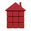 Дом из красных кубиков