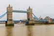 Tower Bridge view on rainy day, London, UK