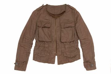 Brown jacket is on white background.