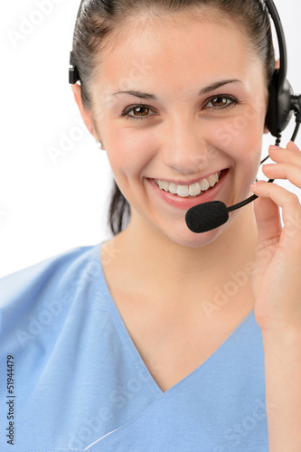 Smiling female customer support phone operator