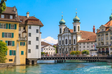 Lucerne city view with river Reuss and Jesuit church, Switzerlan