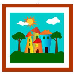 illustrazione di disegno con cornice con case e alberi