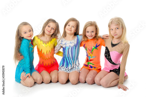 Group of sporty little girls