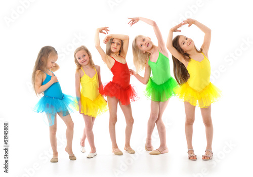 Group of little funny ballet dancers
