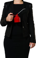 businesswoman with an oil can
