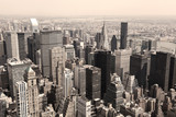 Skyline of Manhattan, NYC - sepia image
