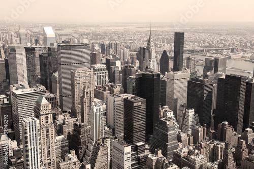 Skyline of Manhattan, NYC - sepia image