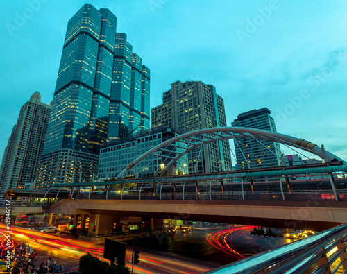 Light trails at Sathorn Rd., Bangkok