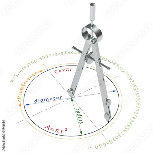 illustration of circle formulas with compasses