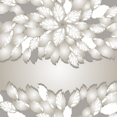 Silver flowers and leaves borders with space for text
