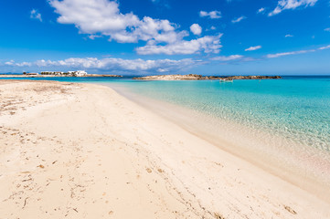 Els Pujols beach in Formentera island, Mediterranean sea, Spain