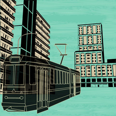 Public Transport Background illustration with a tram