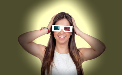 Attractive girl with three-dimensional glasses