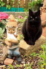 Schwarze Katze mit Gartenzwerg