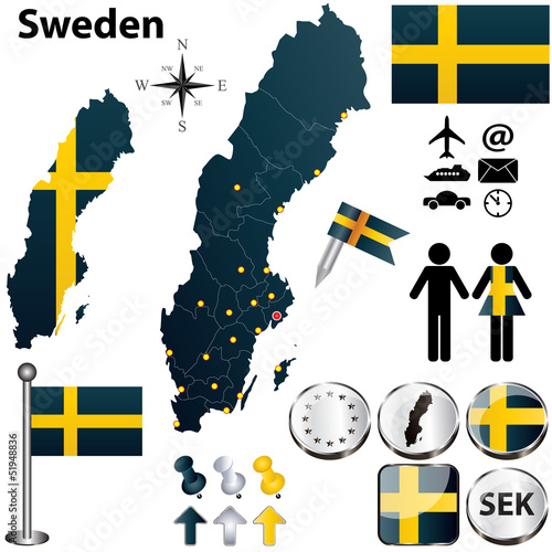 Map of Sweden with regions