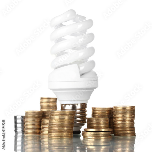 Energy saving lamp and money isolated on white