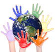 Rainbow hands around the globe, Parts of this image furnished by