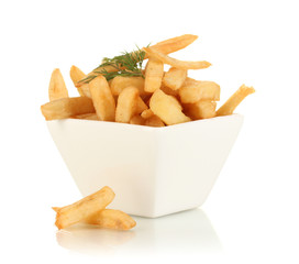 French fries in bowl isolated on white