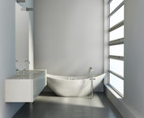 Minimal contemporary grey bathroom with bathtub and sink