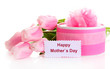 Beautiful bouquet of pink tulips and gift for Mother's Day,