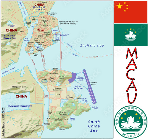 Macau China Asia emblem map symbol administrative divisions