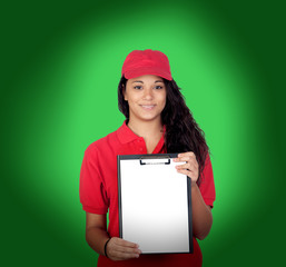Young worker with red uniform and clipboard