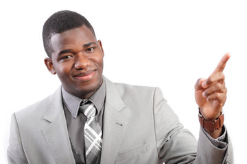 Businessman gesturing or pointing with a smile