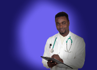 African american doctor with a clipboard