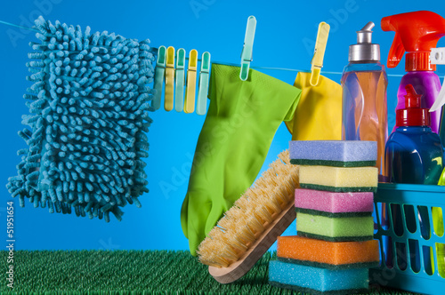 Washing and cleaning concept, cleaning set on blue background