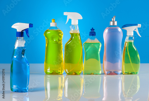 Cleaning set on blue vivid background