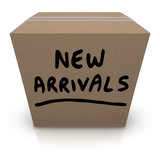 New Arrivals Cardboard Box Latest Products Merchandise poster