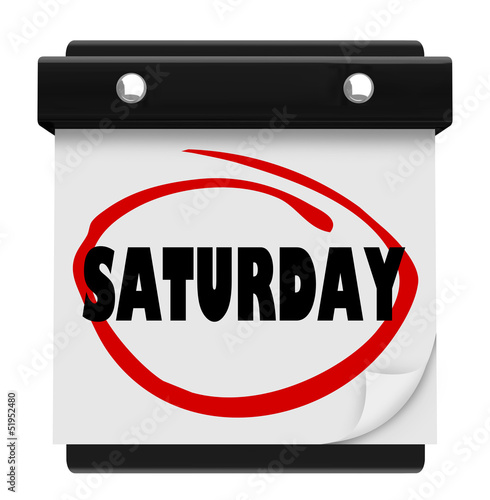 Saturday Word Circled Wall Calendar Weekend Reminder