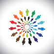 Colorful multi-ethnic people teams or communities meet as circle