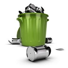 Waste Concept, Overflowing Garbage Bin