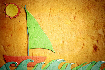 childlike drawing of sand, holiday sailing boat