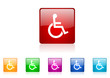 wheelchair vector glossy web icon set