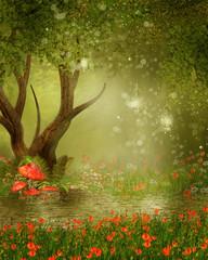 Zaczarowane drzewo nad stawem i łąką z czerwonymi makami
