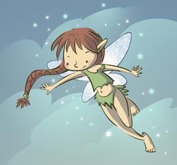 niña volando la imaginación