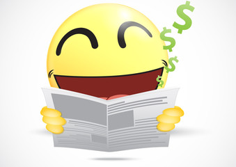 Happy Emoticon reading a business newspaper