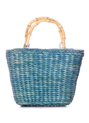 green wicker shopping bag