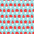 Seamless Pattern Fly Agarics Red/Blue